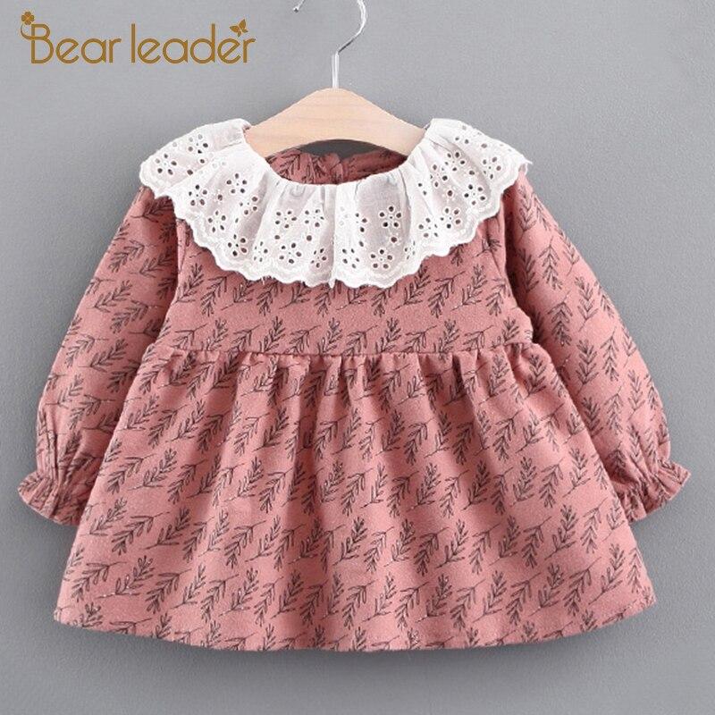 Bear Leader Girls Dress 2017 New Autumn Brand Baby Girls Blouse Lace Crew Neck Grass Printed Children Clothing Dress For 6-24M компрессор fiac leader 24