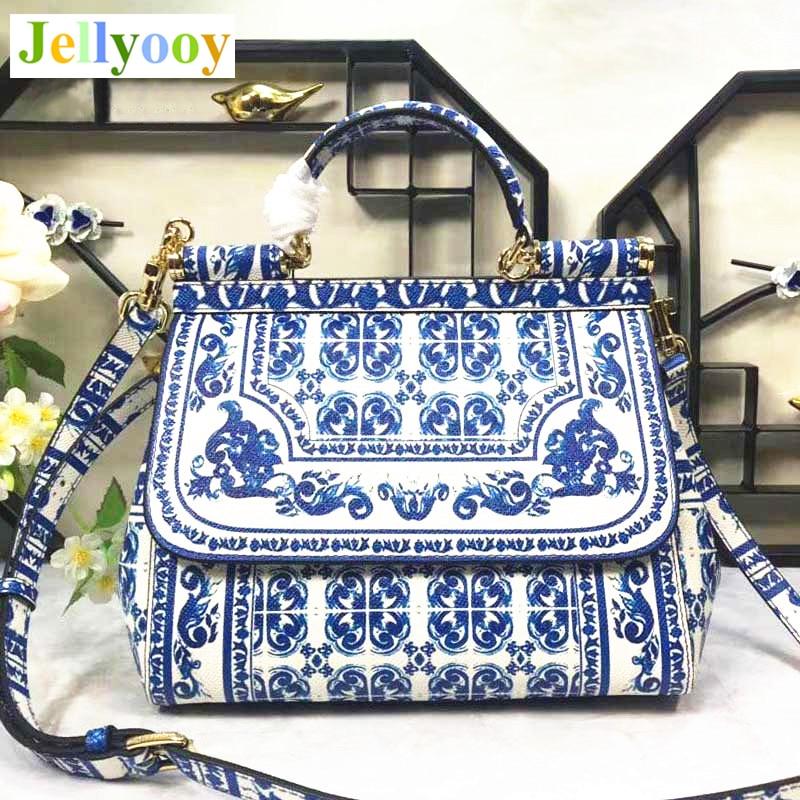 все цены на Blue New Color Printing Series Handbags Cowhide Blue and White Porcelain Bag Women Shoulder Bag Genuine Leather Original Quality