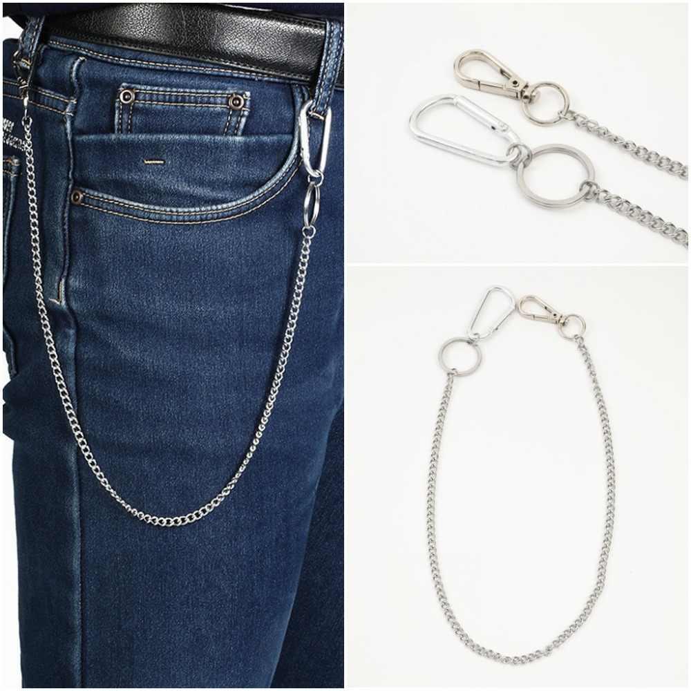 Stainless Steel long 45cm Punk Hip-hop Trendy Belt Waist Chain Male Pants Chain Men Jeans Punk Silver Metal Trousers Keychain