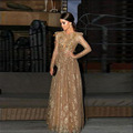 2017 Vintage Charming Champagne Lace Maxi Formal Evening Dresses Long Sleeve Sexy Backless Arabic Longo Special Occasion Gowns