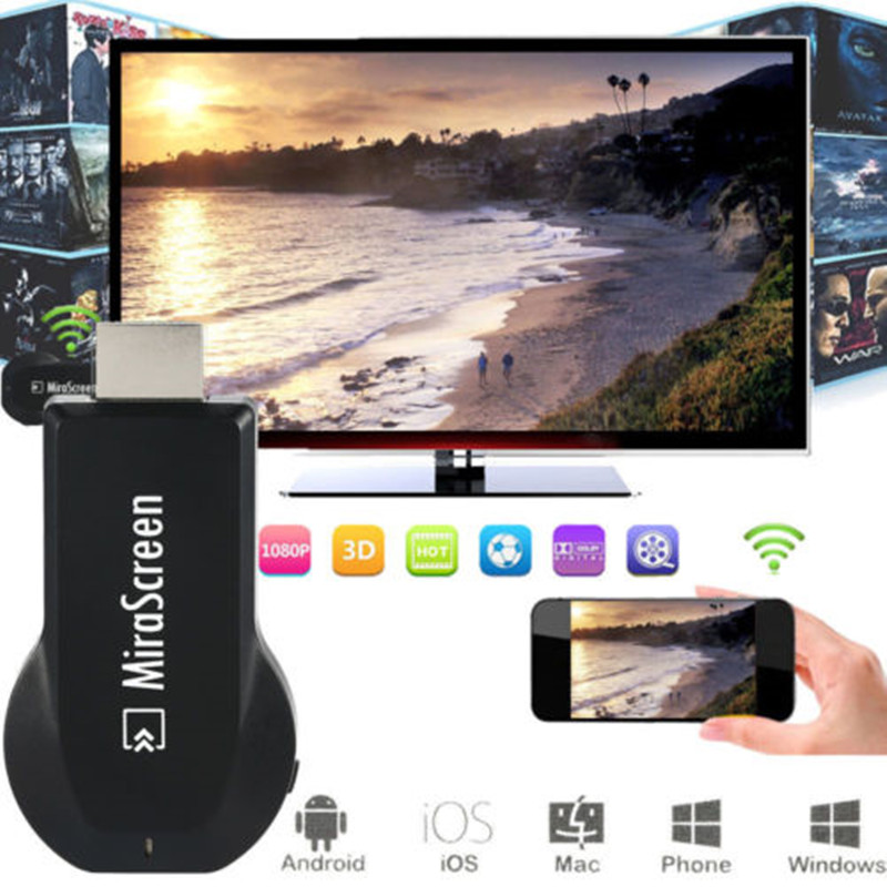 Mirascreen TV Stick Dongle WiFi Display Receiver 1080 P Audio & Video DLNA Airplay Castscreen Airmirroring for Smart Phones