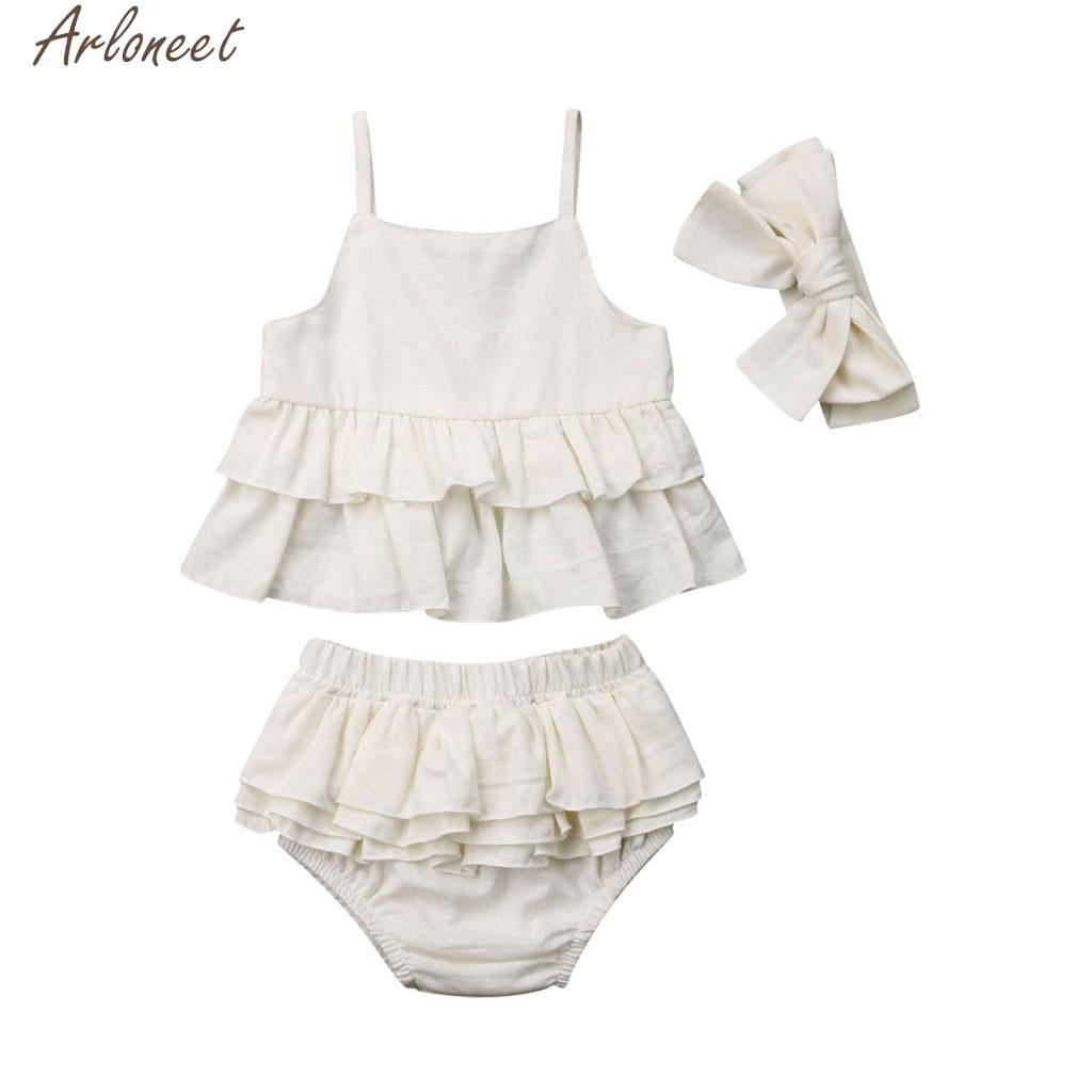 ARLONEET Tops Outfits-Set Headband Shorts Girl Baby Infant Kid Solid Soft Hand-Feeling