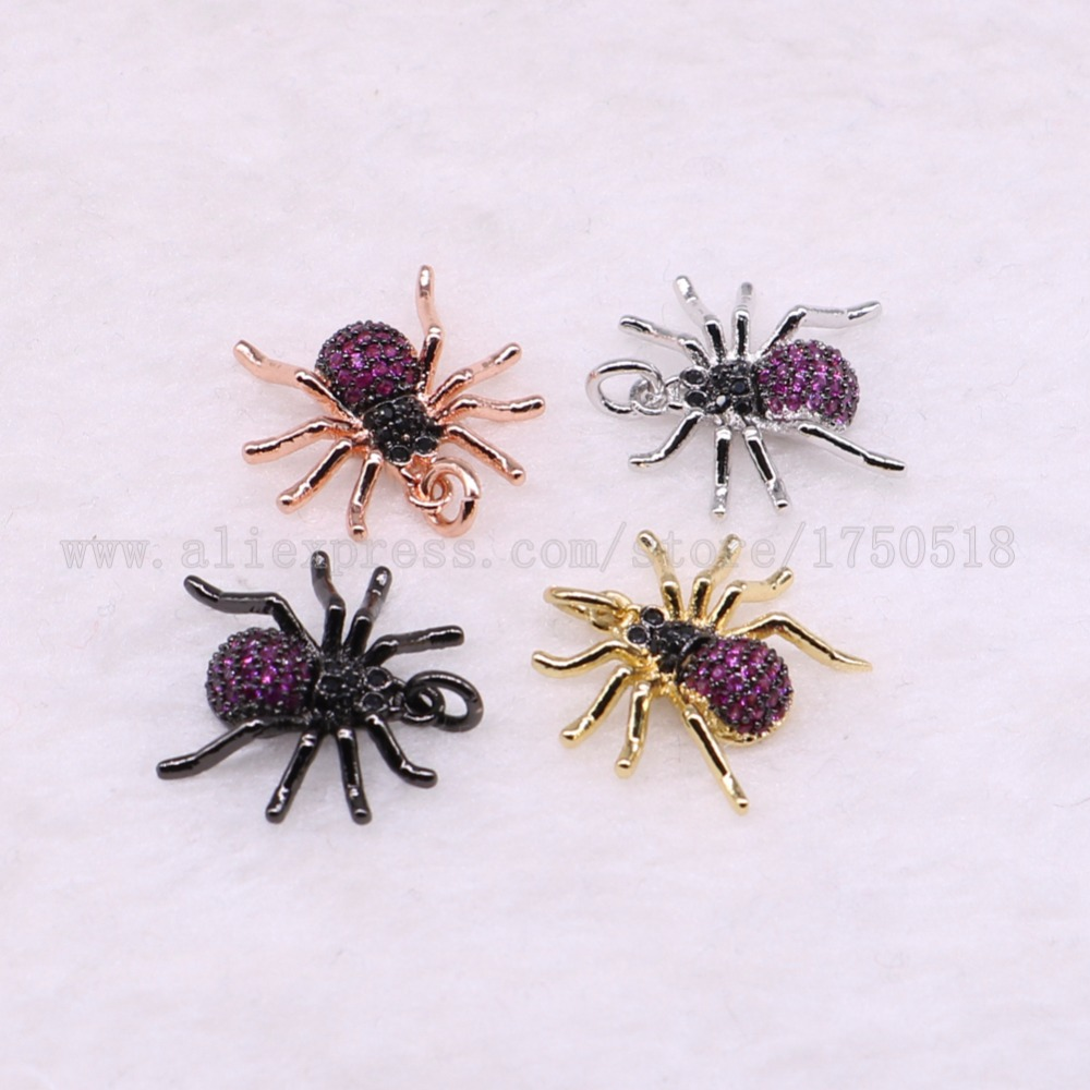 5 Pieces Small Spider Pendants Charm Insects Hexapod Bee