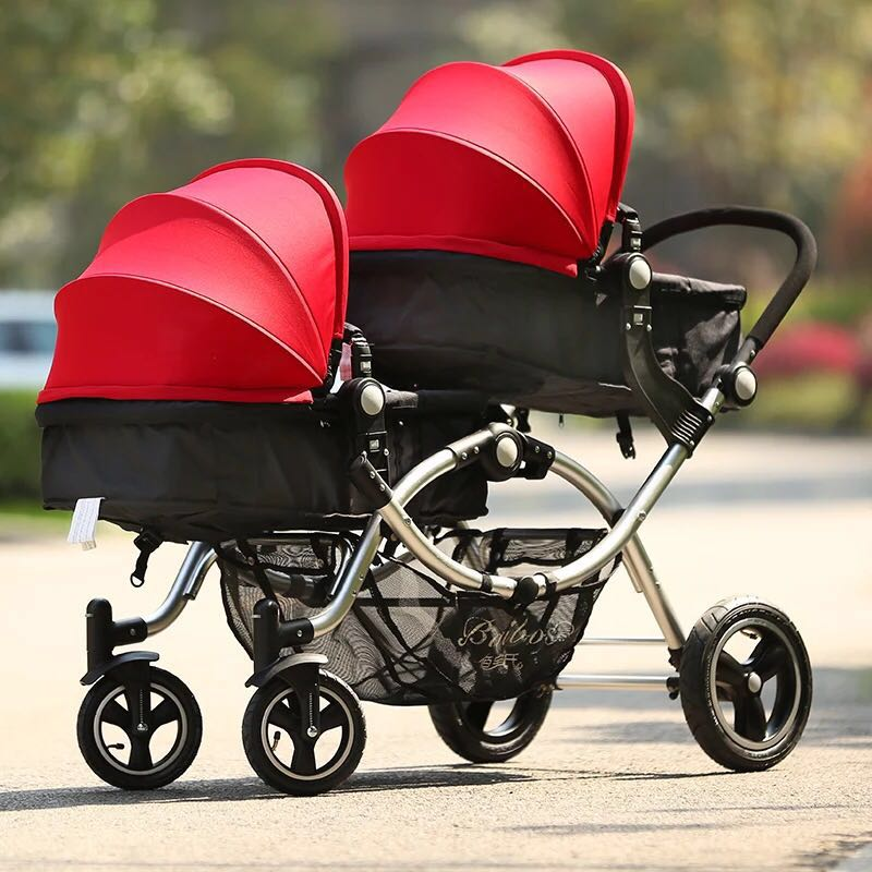 High quality twins baby strollers baby twin carriage Four colors newborn can use suspension bb pram