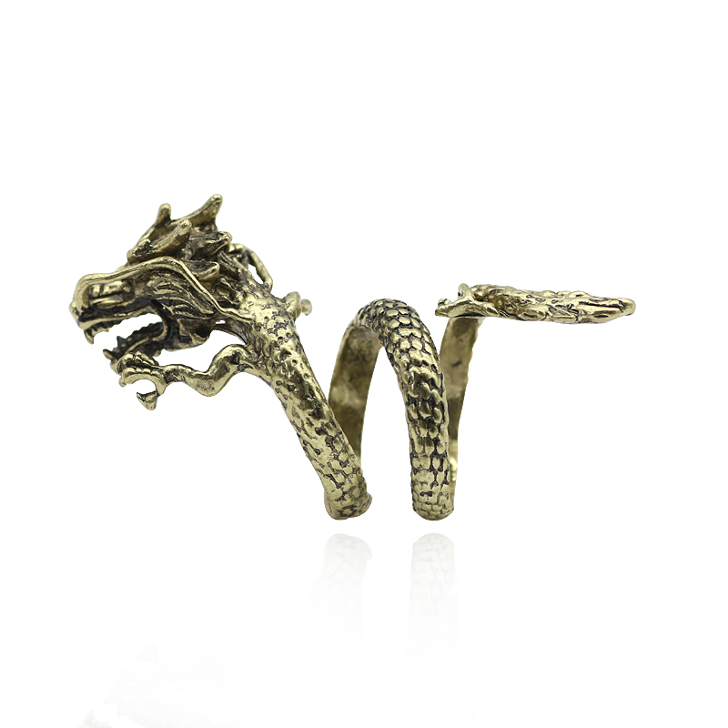 2017 Fashion Gothic Rings Jewelry For Men Vintage Ethnic Dragon Statement Rings Chinese Style Dragon Cocktail Ring Wholesale