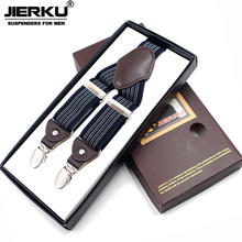 JIERKU Suspenders Mans Braces Leather 4Clips Suspensorio Fashion Trousers Strap Father/Husbands Gift Tirantes Hombre JK4C08