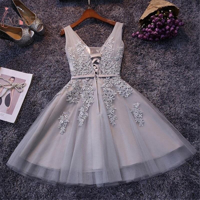 2019 Silver Tulle Short   Prom     Dress   Sexy V Neck Sleeveless Lace Applique Gown vestidos de gala