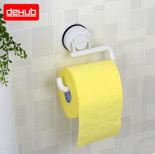 Dehub Wall Mounted Toilet  Roll Holder Super Suction Wc Paper Plastic In White Without Cover