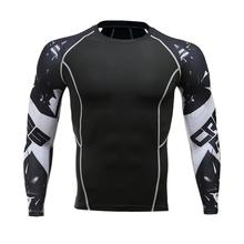 high quality Fitness T-Shirt Men's Compression Shirt Long-sleeved t-shirt Quick-drying Breathable 3D Printing Men's T-shirt