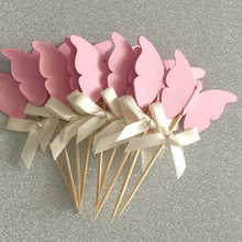 Custom Bow Color&Pink Double-Sided Butterfly Cupcake Toppers Wedding Party Picks Kids Fairy Party Decoration Bridal Shower Decor