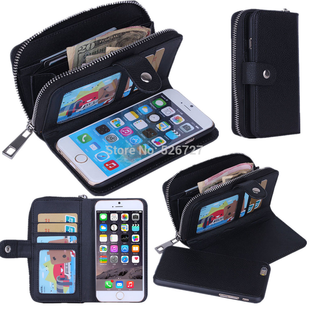 Lady Women PU Leather Zipper Handbag Wallet Purse with Card Slot Phone Case  Cover for iPhone 6 6S 7 Plus 5S 5G SE Phone 93944bb7c3e4