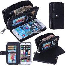 Señora de las mujeres de la pu bolso de cuero con cremallera cartera monedero con ranura para tarjetas de teléfono case cover para iphone 6 6 s 7 plus 5S 5g sony ericsson teléfono bolsas