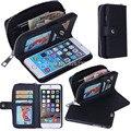 Senhora mulheres pu bolsa de couro com zíper bolsa carteira com slot para cartão de telefone case capa para iphone 6 6 s 7 plus 5S 5g telefone se sacos