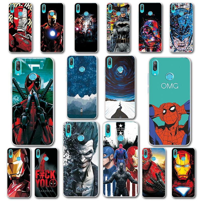 Intellective Phone Case For Huawei Y7 2019 6.26 Cover Silicone Novelty Captain America For Huawei Y7 2019 Spiderman Capa Fundas For Y7 2019 Phone Bags & Cases Fitted Cases