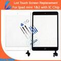Ll comerciante de substituição para ipad mini 1 & 2 digitador conjunto de vidro do painel frontal da tela de toque adesivo auto-reparação kit frete grátis