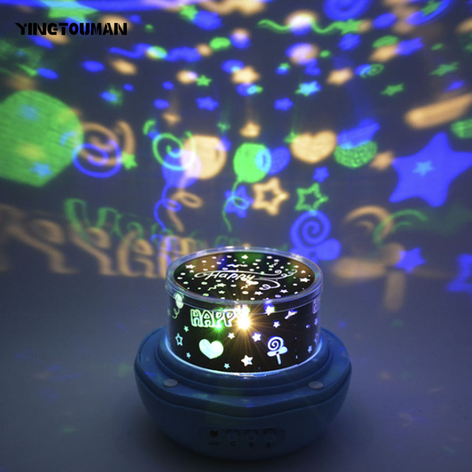 YINGTOUMAN Starry Sky Earth Rotate Projector LED Night Light USB Powered LED Night Lamp Novelty Baby Light for Christmas Gift