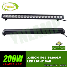 YNROAD 33inch 200w single row Led Light Bar Driving Offroad Light Spot/flood/combo 10V- 70V 14200LM for 4×4 ATV UTV USE IP68