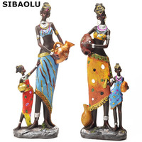 2 Pcs Antique Imitation Resin African Statues Mother And Baby Modern Abstract Sculpture Decorative Crafts Gift