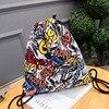 Canvas Women S Backpack Men S Leisure Travel Cartoon Geometric School Backpack College Bag Belt Backpack