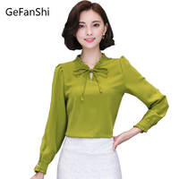 S XXXL Women Blouses New Arrival Fashion 2016 Autumn Korean Style Solid Shirt Chiffon Ladies Office