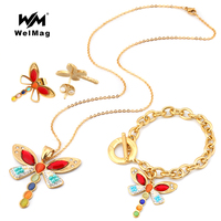 WelMag Trendy Stainless Steel Link Chain Necklaces dragonfly Pendant Vintage Elegant Woman Jewelry (Necklace, Earring,Bracelet)