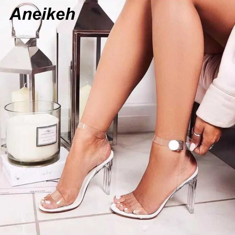 Aneikeh 2019 Women Sandals Ankle Strap Perspex High Heels PVC Clear Crystal Concise Classic Buckle Strap High Quality Shoes