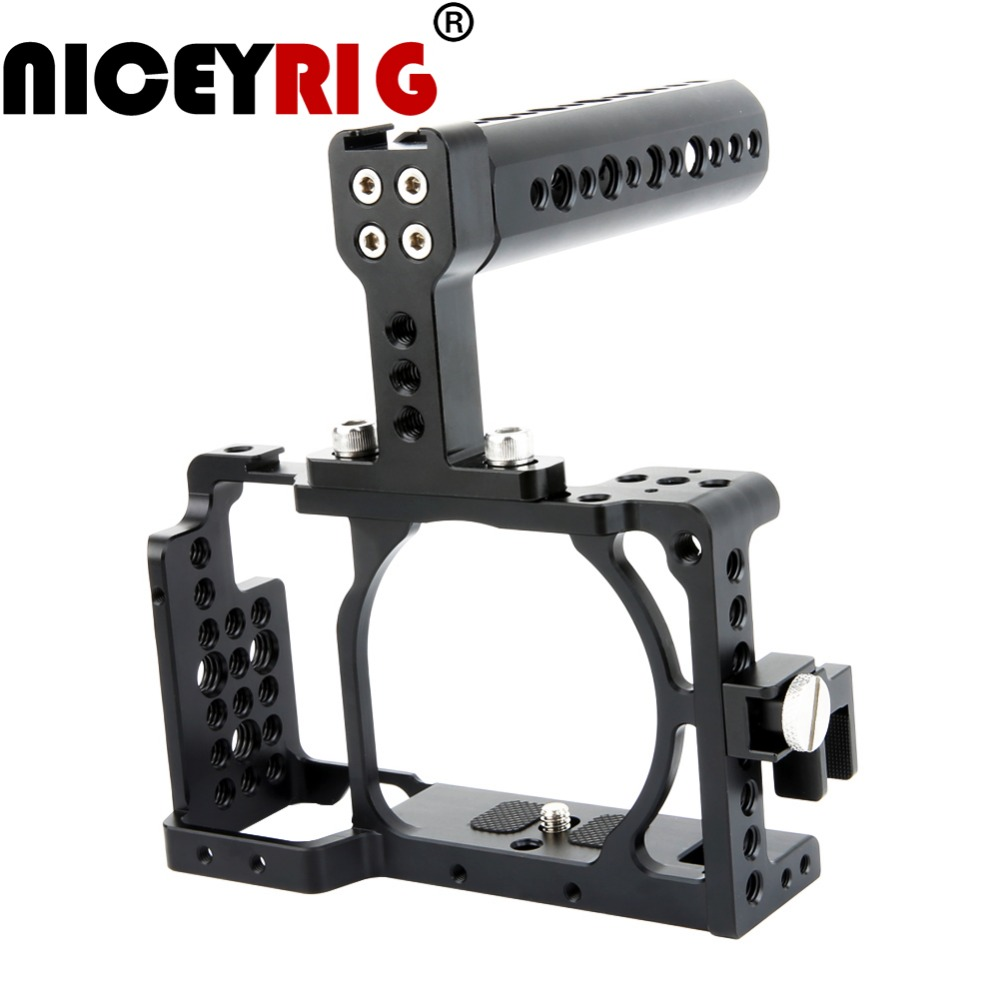 NICEYRIG for SONY A6300 A6000 A6500 ILCE-6000 ILCE-6300 ILCE6500 NEX7 DSLR Camera Cage Accessory Kit with Handle and Cable Clamp waraxe a6 camera cage for sony ilce 6000 ilce 6300 ilce a6500 with 1 4 and 3 8 threaded holes cold shoe base free shipping