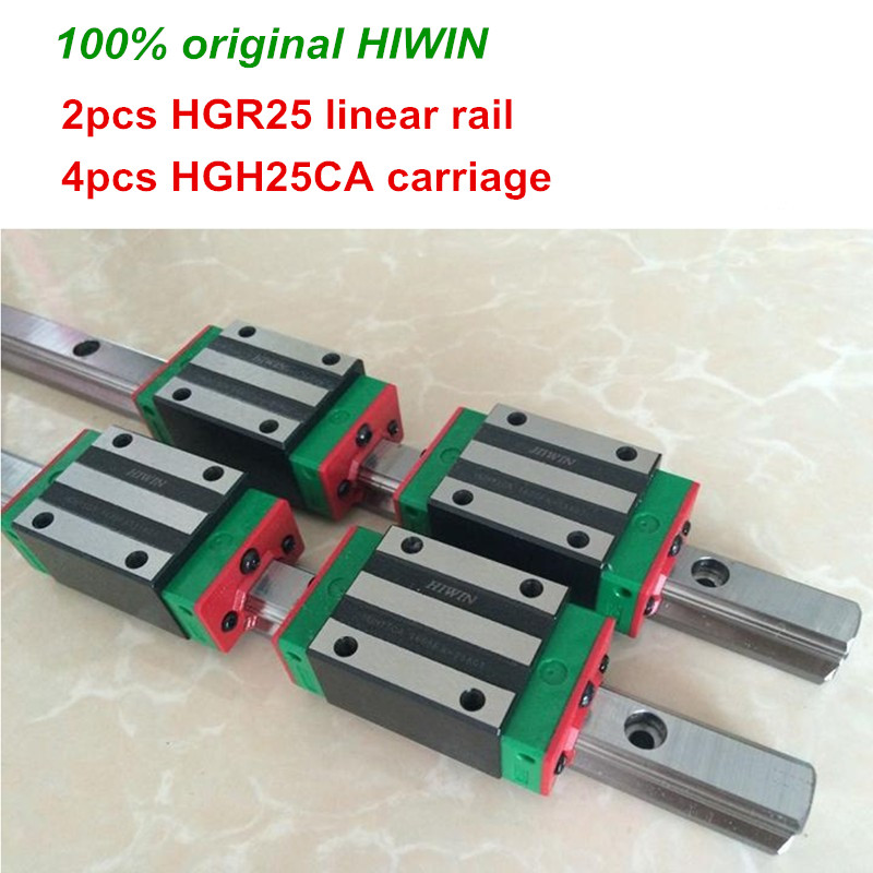 100% original HIWIN 2pcs HGR25 200mm 300mm 400mm 500mm 600mm 700mm 800mm 1000mm Linear Guide rail + 4pcs HGH25CA HIWIN Carriage цена