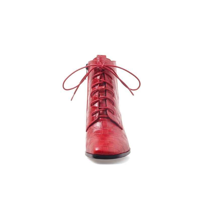 BAĞLANTı KÖPRÜSÜ 2019 yarım çizmeler kış yeni özlü rahat fermuar kadın orta kare topuk hakiki deri sıcak patik kadın marka ayakkabı 2019