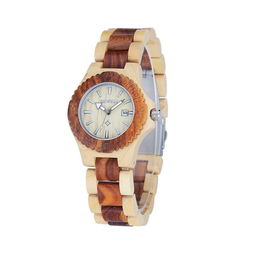 BEWELL vente chaude femmes en bois montres Simple mode Quartz montres petit cadran Lumious mains calendrier marque de luxe 020AL