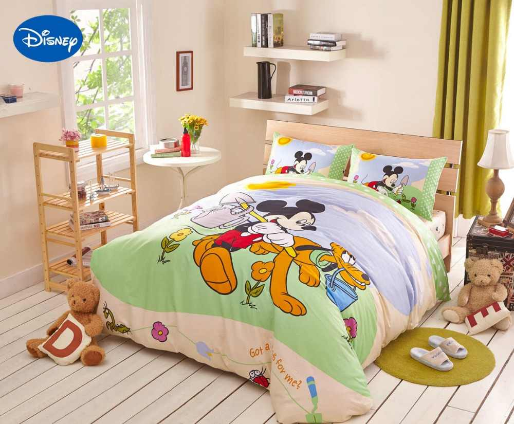 Disney Cartoon Mickey Mouse Goffy Dogs Bedding Textile for Childrens  Bedroom Decor Cotton Bed sheets Set Single Full Queen King