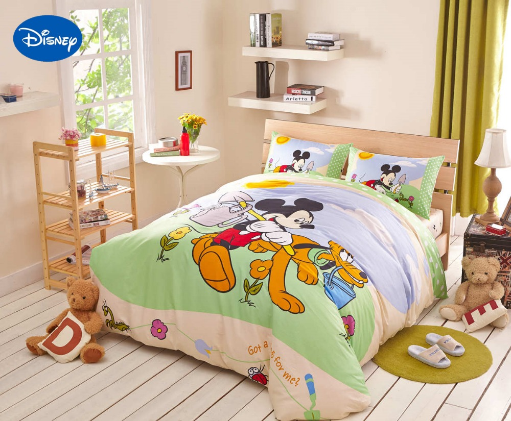 disney cartoon mickey mouse goffy dogs bedding textile for childrens bedroom decor cotton bed sheets set