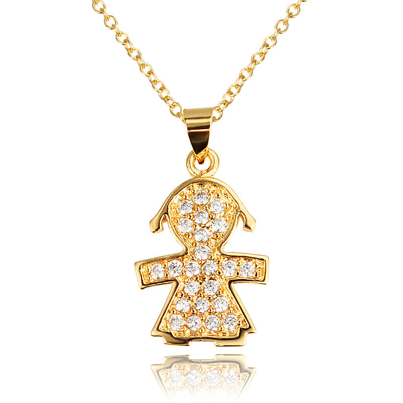 Hot sale cute gold planted cubic cubic zirconia doll for Jewelry sale online shopping