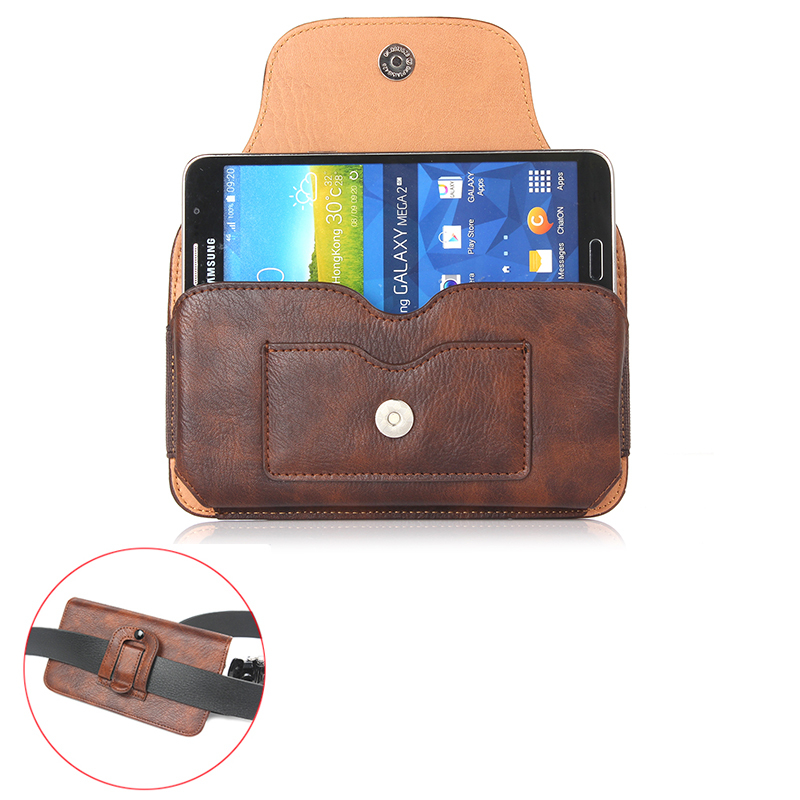 "Vintage Magnetic Horizontal Leather Case For sony xperia z2 z3 z5 5.5"" Below Shell Hook Loop Belt Pouch With Card Slots"