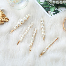 Fashion simple imitation pearl hairpin girl elegant sweet word clip wedding engagement hair accessories halloween jewelry