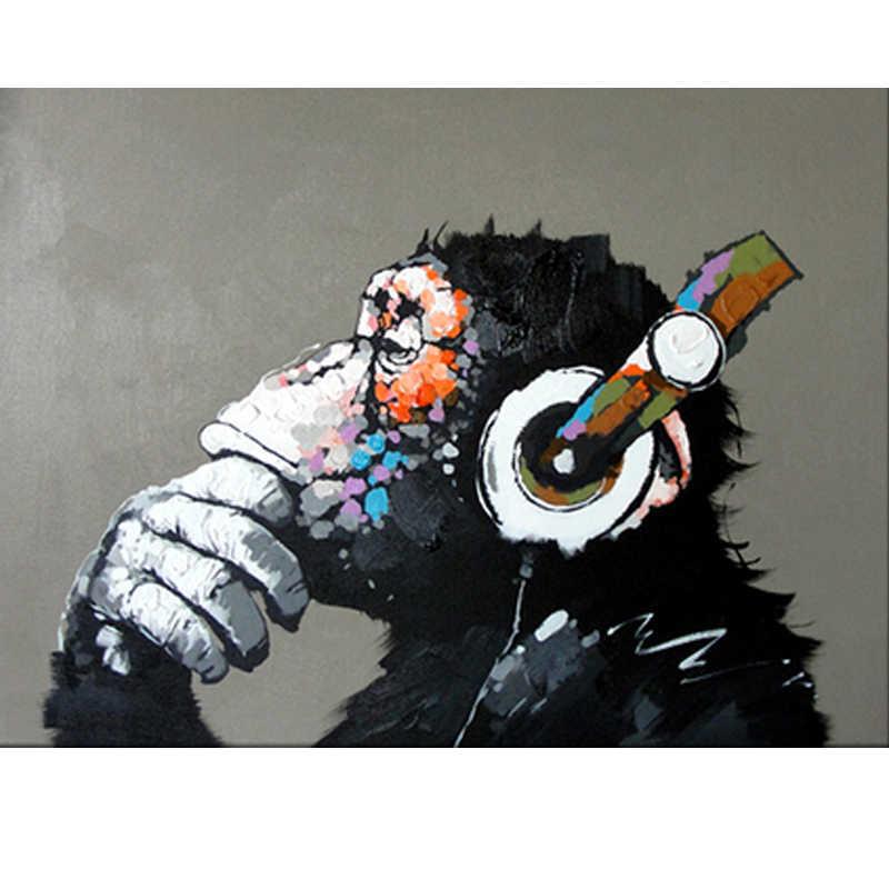 Музыка обезьяна животных мультфильм ребенок DIY цифровая картина маслом номера Современные Wall Art Холст Живопись уникальный подарок домашнего декора 40x50 см