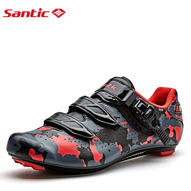 Santic Men Cycling Road Shoes Carbon Fiber Cycling Athletic Racing Team Bicycle Shoes Breathable waterproof riding shoes