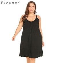 Ekouaer Plus Size Nachtjapon Vrouwen XL 5XL Nachtkleding Jurk Casual Solid V hals Mouwloos Nachthemd Zomer Slapen Lounge Jurk