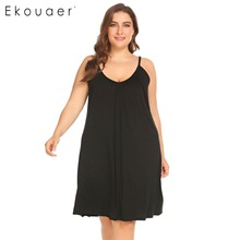Ekouaer Plus Size Nightgown Women XL 5XL Sleepwear Dress Casual Solid V Neck Sleeveless Nightdress Summer Sleeping Lounge Dress