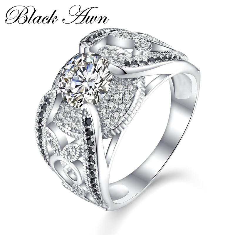Black Awn New Arrival Authentic 925 Sterling Silver Women Rings White/Black Zirconia 925 Silver Rings Fine Jewelry Gift C321