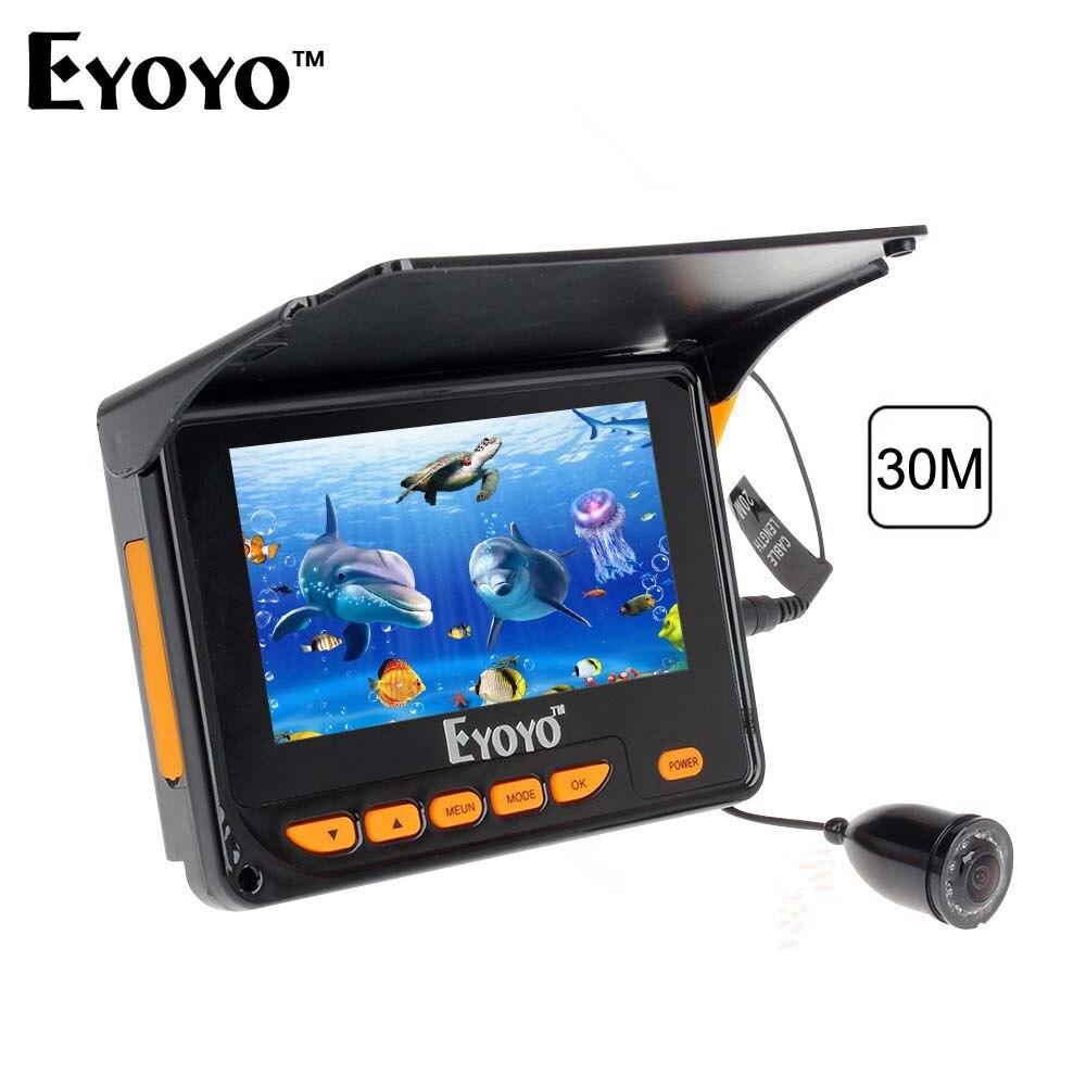 Eyoyo 30M Underwater Video Fishing Camera Fish Finder 4.3 LCD Monitor 8pcs IR LED Angle 150 degrees with Sunshield eyoyo 20m hd 1000tvl underwater ice fishing camera video fish finder 4 3 lcd 8pcs ir led 150 degrees angle