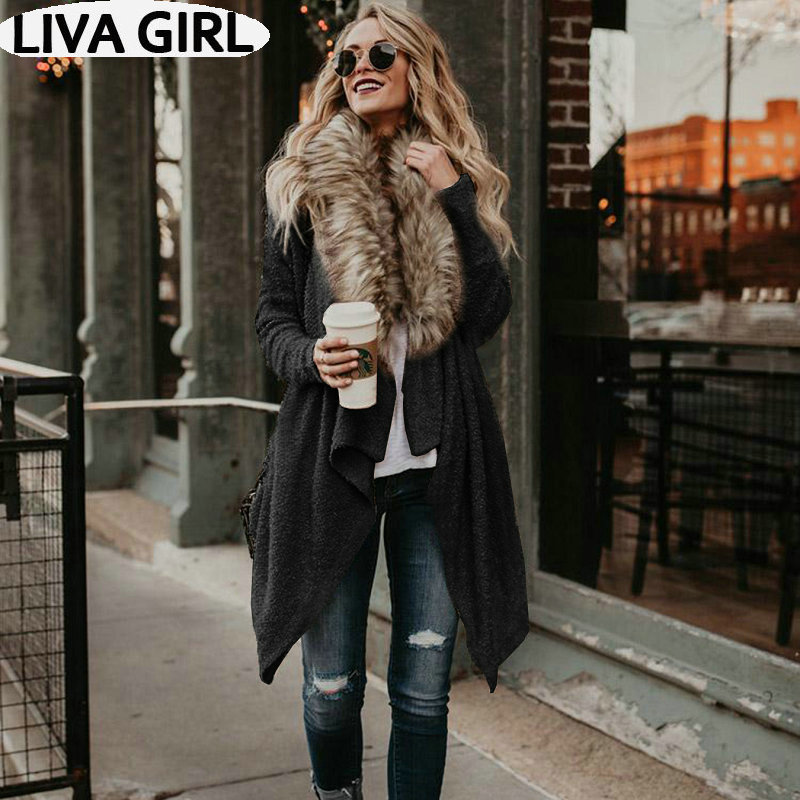 2019 Autumn And Winter New European And American Loose Large Size Knit Cardigan Fox Fur Collar Sweater Coat Female
