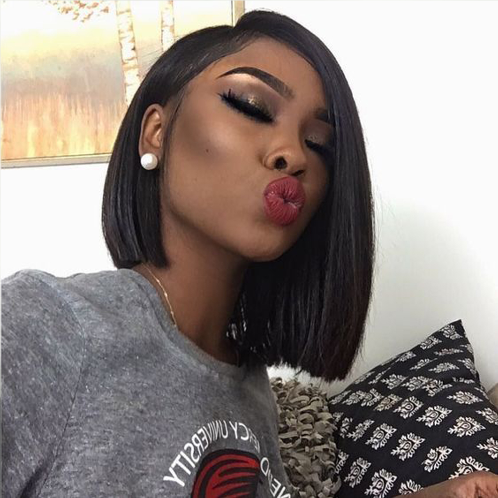 Indian hair Lace Front Human Hair Wigs Short Bob Wigs For Women Black Indian Straight Hair