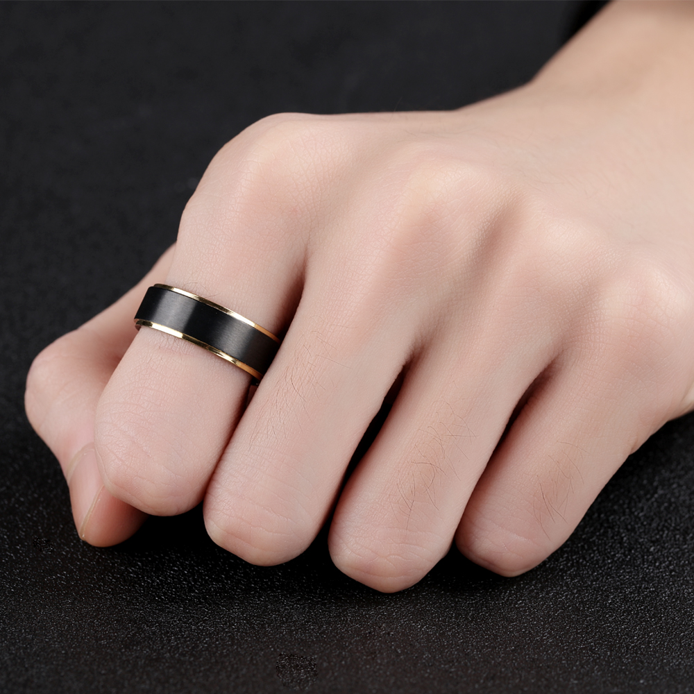 Seanuo Electroplating Black Gold Tungsten Double Layer Smooth Men\'s ...