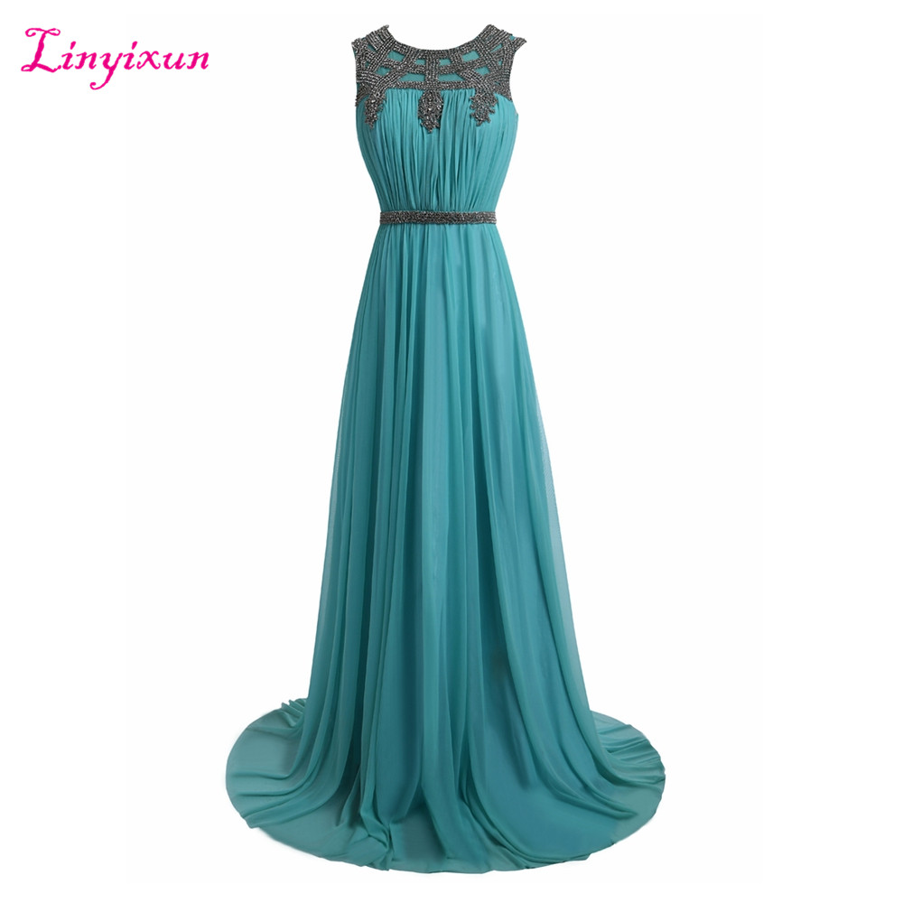 Linyixun Real Photo Chiffon   Prom     Dresses   2017 Scoop Neck Long   Prom     Dress   Sweep Train Appliques Lace Party Gown Robe de soiree