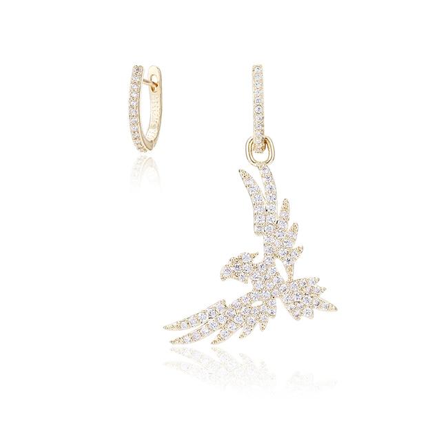 XIUMEIYIZU New Arrival Brand Design Blue and White Color Cubic Zirconia Phoenix Bird Dangle Earrings for Women