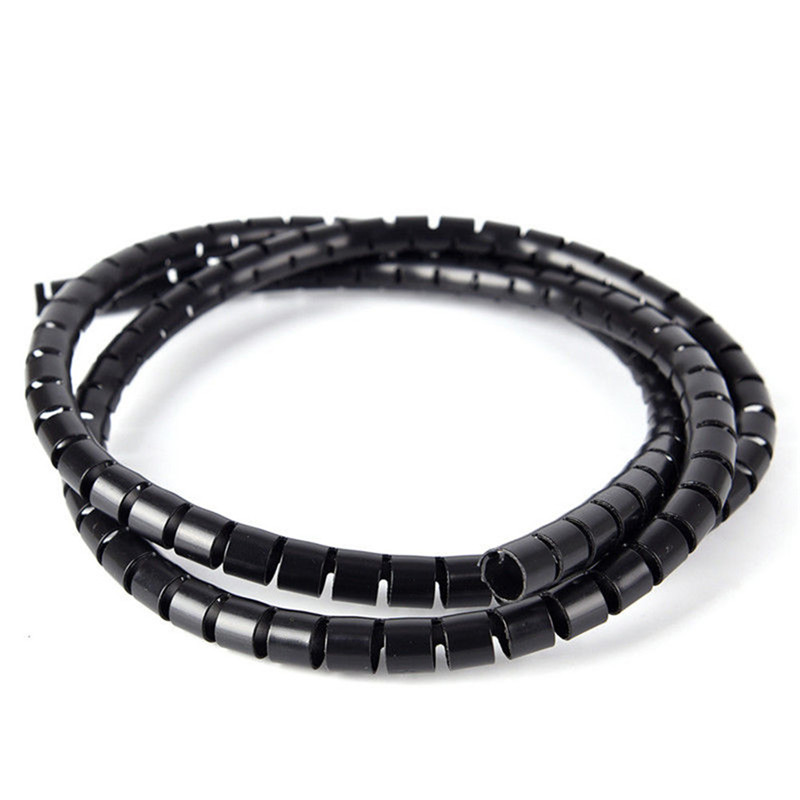 5mm TV Consoles 10 Metres Black Spiral Cable Wrap Office Wire Tidy Banding Pc