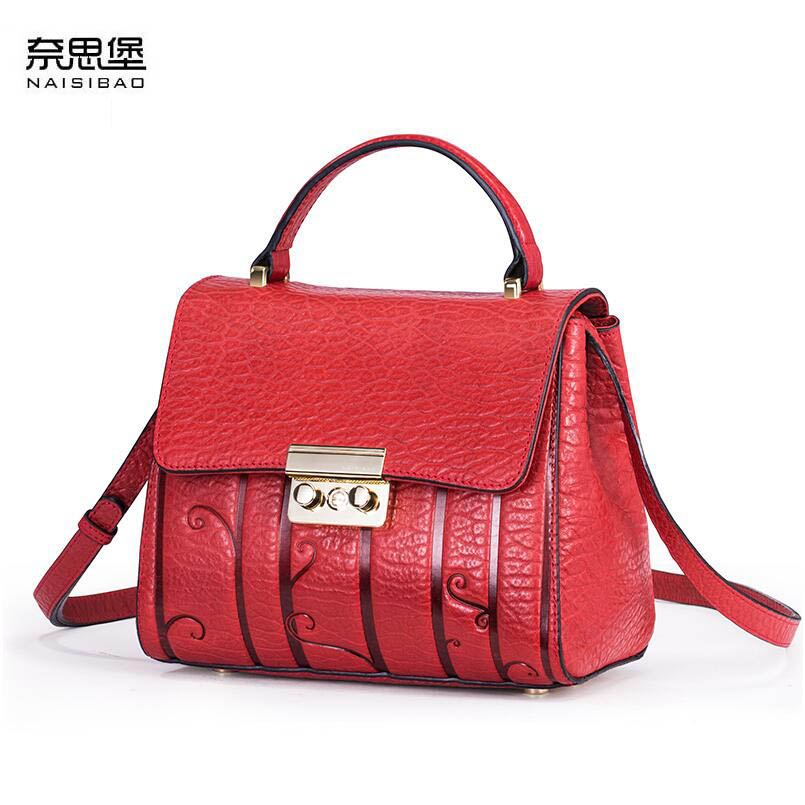 NAISIBAO 2018 New women genuine leather bag embossing fashion Luxury tote women handbags shoulder bag top cowhide bag