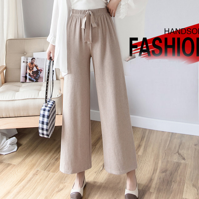 Womem   wide     leg     pants   2019 spring summer female vintage loose elegant elastic High waist knitted   pant   office lady casual trousers