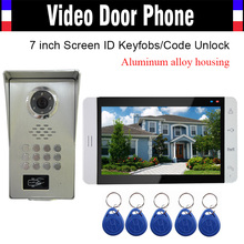 7 inch Monitor Aluminum Alloy Shell Camera RFID Keyfob Password Unlock Video Door Phone Intercom Door bell Doorphone Waterproof
